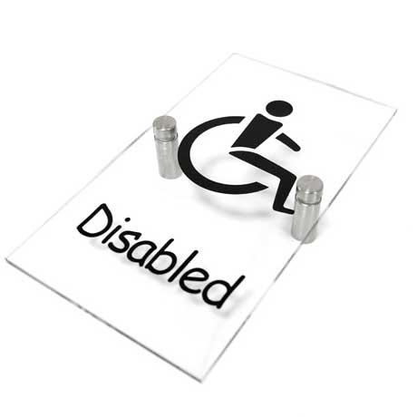 Clear Acrylic Disabled Toilet Sign WR-SIGN-DISABLE-1