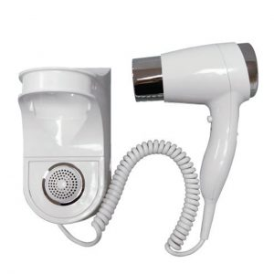 Hair Dryer Wall Mounted Holster Style Ion White Chrome