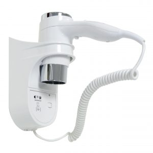 Hair Dryer Wall Mounted with Shaver Socket White Chrome