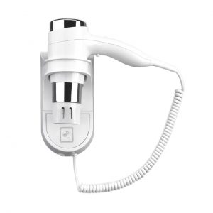 Hair Dryer Wall Mounted Holster Style White Chrome