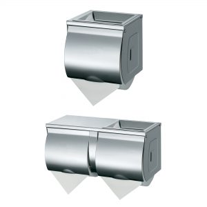 Double Toilet Roll Dispenser, Toilet Roll Holder Double Roll Stainless Steel Chrome, WR-JZH10W3