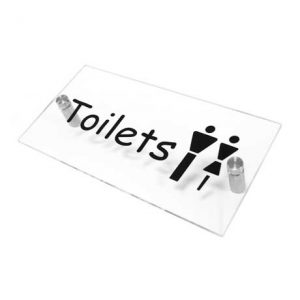 Clear Arcylic Toilets Sign WR-SIGN-TOILETS-1